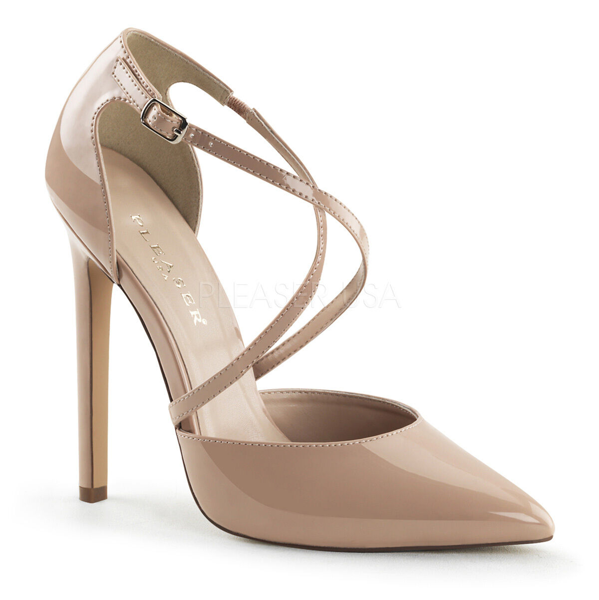 PLEASER SEXY26 NU Sexy Cream Stiletto 5  Heel Criss Cross Pumps High Heels shoes