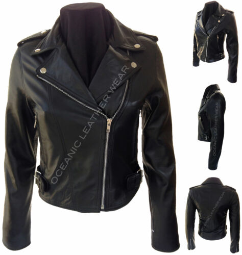 Ladies Black Zipped Urban Retro Biker Style 100/% Real Soft Leather Jacket