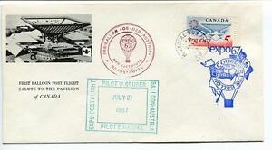1967 Ballonpost First Post Flight Pro Juventute Aerostato Oe-dzb Expo Canada