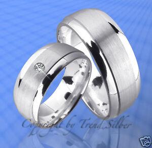 Eheringe mit Stein J64-1 Trauringe Silber 925
