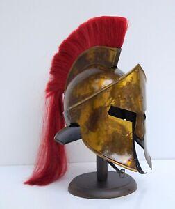 Medieval armour greek spartan 300 movie helmet plume antique w/ wood stand x-mas
