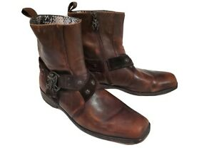 Lounge-by-Mark-Nason-Men-039-s-Boots-9-5-Brown-Distressed-Leather-Harness-Cross