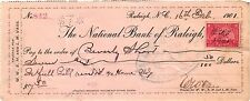 NORWAY NATIONAL BANK AT NORWAY MAINE,REVENUE STAMP,1898,CHECK