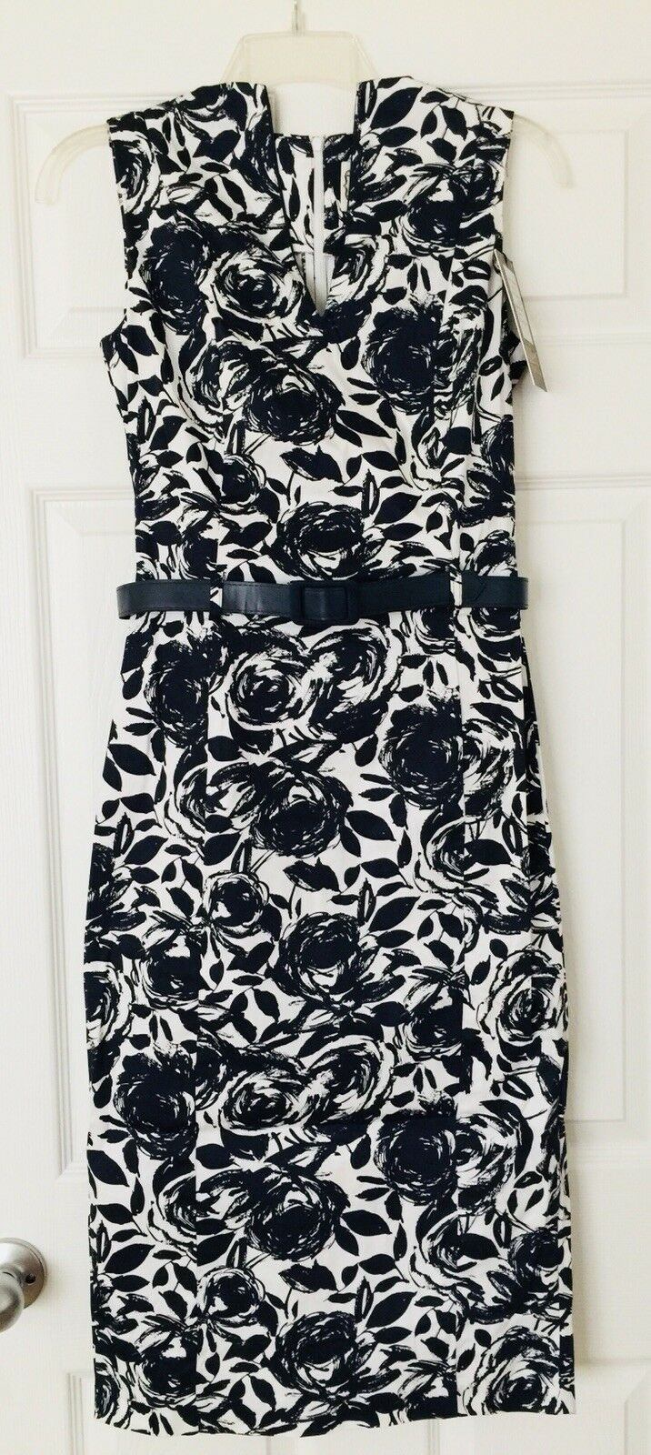 NWT ModCloth Navy White Floral Belted Midi Dress by Collectif Vintage London - S