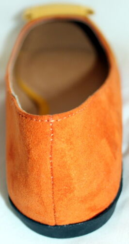 Easy On Ballerina Flats Color Block Orange Yellow Soft Suede PU Women/'s Shoes