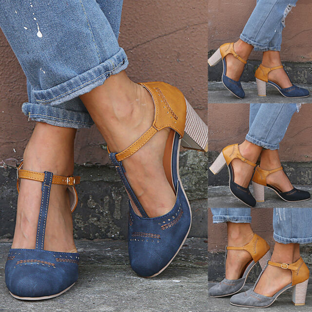 Womens Block Heels Ankle Strap T-Strap Sandals Point Toe Casual Work Party Shoes