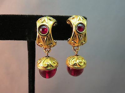 """Monet Comfort Clip Earrings Luxury Gold Plated Red Glass Stone Bead Dangle 1.25"""""""