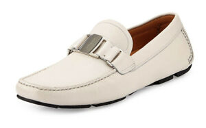 Salvatore-Ferragamo-Men-039-s-Sardegna-Pebbled-Vara-Driver-Off-White