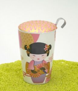 EIGENart-Teaeve-Trinkbecher-Porzellan-Deckel-amp-Sieb-New-Little-Geisha-rose-350ml