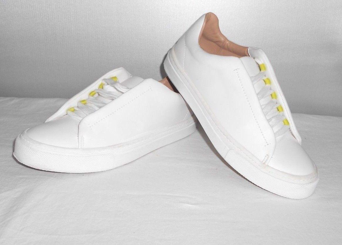 Womens Zara Trafaluc White Leather Fashion Sneakers Size 6.5 B 37