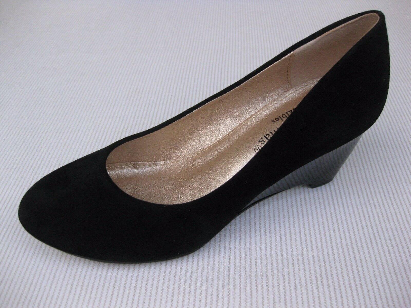 Pierre Dumas Womens Shoes NEW Patent $48 Nelly-1 Black Suede Patent NEW Wedge 6.5 M 4e046a