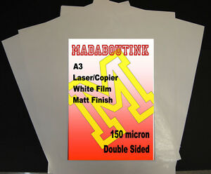 20-Sheets-A3-Laser-amp-Copier-Double-Sided-Matt-White-Film-150micron
