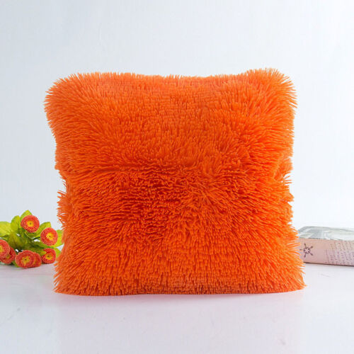 "18/"" Soft Fur Plush Square Throw Pillow Cases Home Decor Sofa Waist Cushion Cover"