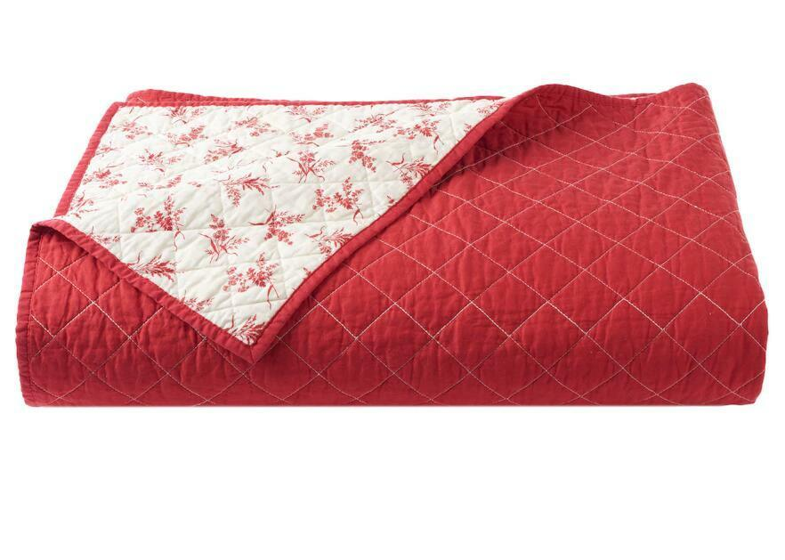 Ralph Lauren Chaps HUDSON RIVER VALLEY Cream Red Calico Floral Coverlet - King