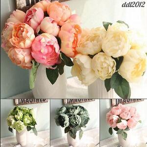 Bride-Bouquet-6-Heads-Artificial-Peony-Silk-Flower-Leaf-Wedding-Party-Home-Decor