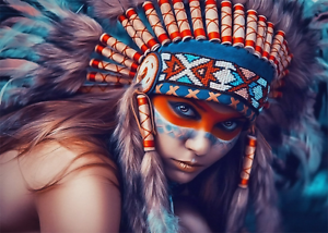Native American Indian girl Painting Artwork Signed canvas Print
