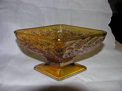 Indiana Marigold Carnival Glass Diamond Shape Pedistal Candy Dish