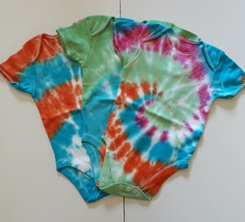 Unique Gift Tie Dye Baby Bodysuit New 9-12 Months - Handmade Festival
