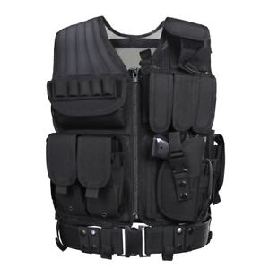 Tactical Airsoft Paintball Combat Military Swat Vest, Pistol Holster Mag Pouches
