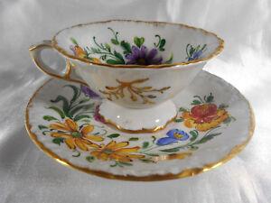 ( 02 ) Tasse & Sous Tasse Floral En Porcelaine De Paris Ou Limoges SignÉe Dt