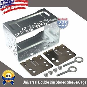 Universal-Double-DIN-Car-Stereo-Radio-Sleeve-Cage-Mounting-Kit-110mm-Height-US