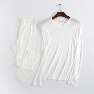 Men-039-s-Thermal-underwear-set-Knitted-double-silkworm-silk-underclothes-trousers