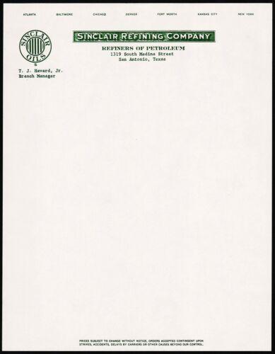 Vintage letterhead SINCLAIR REFINING gas oil San Antonio Texas unused n-mint+