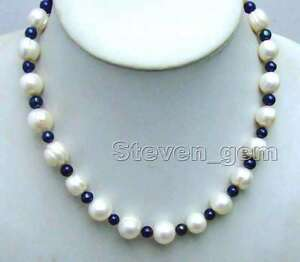 SALE-10-13mm-White-and-6-7mm-Black-Natural-Freshwater-PEARL-17-034-Necklace-nec6082