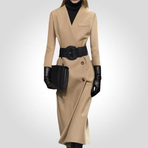 Woolen Bælte Outwear V Parka 2xl Trenchcoat Double Lang Kvinder Breasted Szs hals wBSXqE