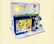 Dollhouse Miniature DIY Kit w Light Hallstatt Cafe Cake Coffee Store Bakery Shop