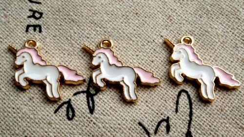 Rosado Y Dorado 6 encantos Jewellery Supplies C468 Unicornio Blanco
