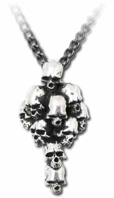 Alchemy Gothic Metalwear Reznic Butcher's Cross Skulls Pendant Necklace Pewter