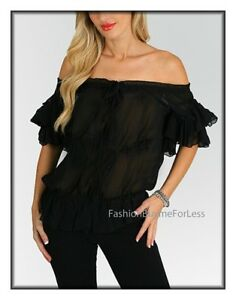426cf4fc25e39a Black Haute Gypsy BOHO Bohemian Victorian Faux Silk Ruffle Chiffon ...