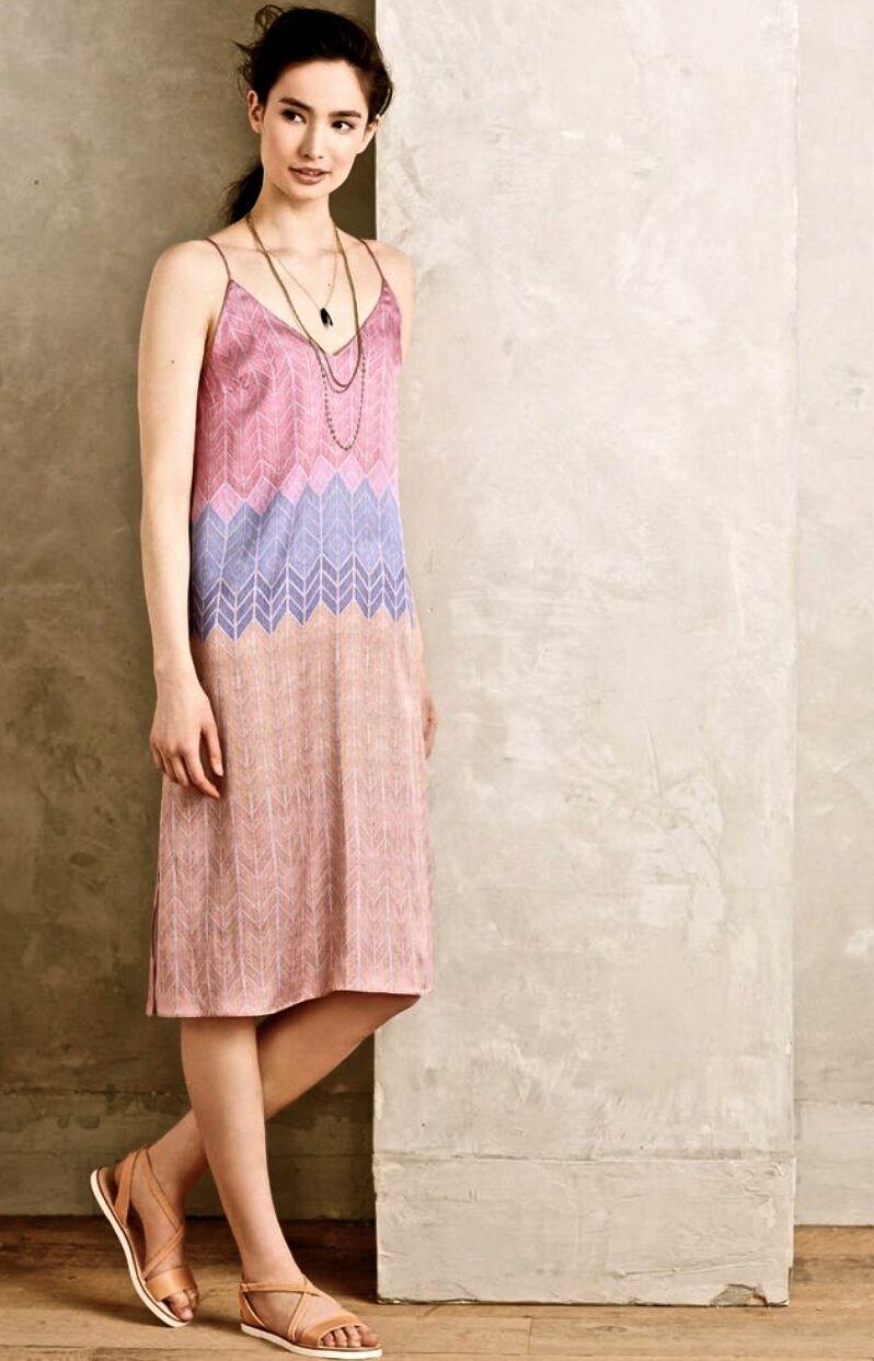 NEW Anthropologie Rosa lila Silky Ombre Chevron Stripe Slip Dress L