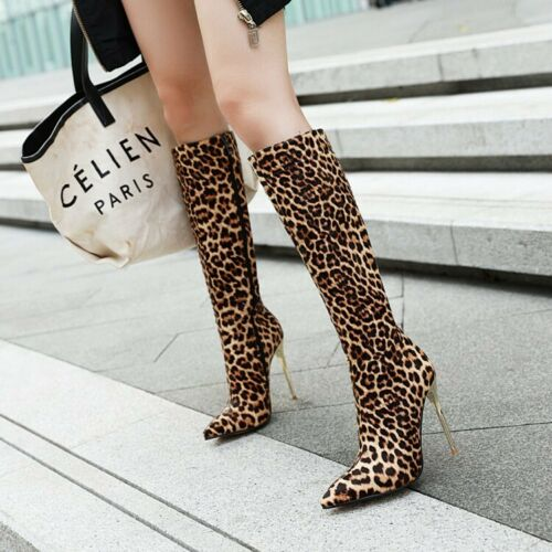 Chaussures femme talons aiguilles Bottes hautes à Bout Pointu Serpent Imprimé Bottes Fête Chaussures
