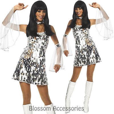K5 60s 70s Go Go Retro Hippie Girl Dancing Groovy Party Silver Disco Costume