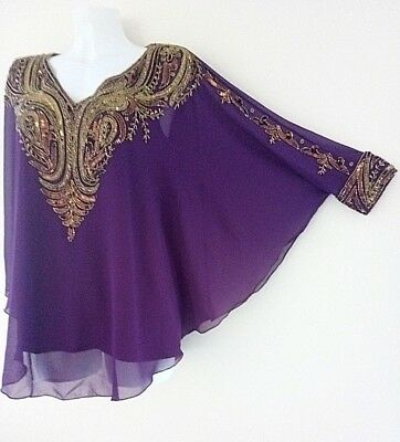 NEW GOLD SEQUIN BLOUSE PONCHO VEST SHIRTS WEDDING TOP TUNIC CAPE 20//22//24 RED