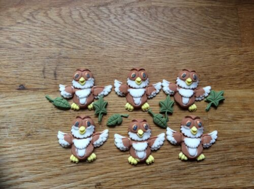 Edible sugar paste owl cup cake toppers 61224