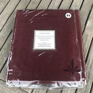 Restoration-Hardware-Burgundy-Thai-Silk-Taffeta-Embroidered-Drapery-Panel-84-034
