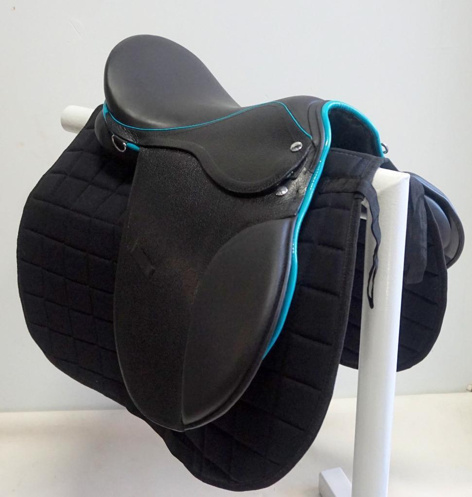 15  16  Negro verde Azulado Trim AP silla juvenil niños inglés evento caza salto libre Pad