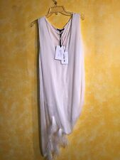 NWT SHARON WAUCHOB WOMEN'S SEXY CREAMY SLEEVELESS TUNIC WITH FEATHERS SIZE 42