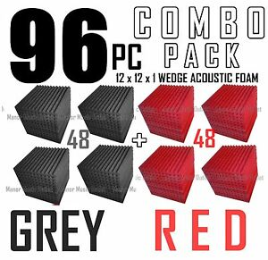 The-BIG-DEAL-ComBo-96-pack-GREY-amp-RED-Acoustic-Wedge-Sound-Studio-Foam-12x12x1