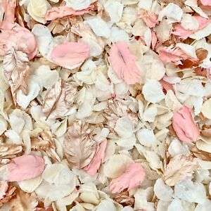 Corail-Or-rose-rose-ivoire-seche-Biodegradable-Mariage-Confettis-Real-petales