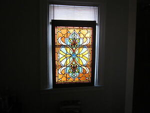 Victorian antique stained glass window 29 jewels for Window glass design 5 serial number