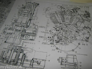 Harley davidson plan drawing print 61ci knucklehead engine blueprint image is loading harley davidson plan drawing print 61ci knucklehead engine malvernweather Gallery