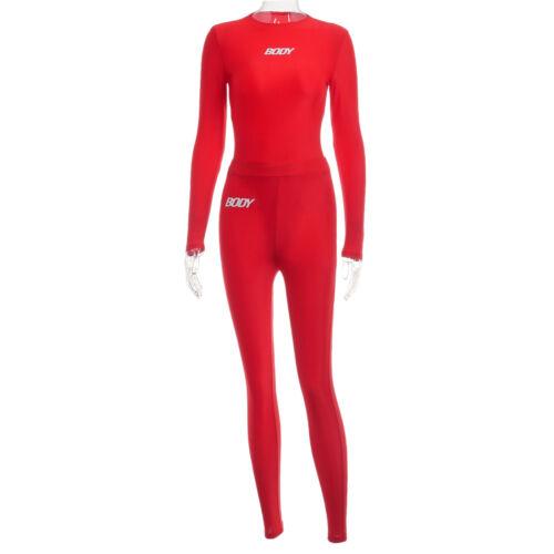 Stylish Women Long Sleeves Letter Print Patchwork Bodycon Jogging Jumpsuit 2pcs
