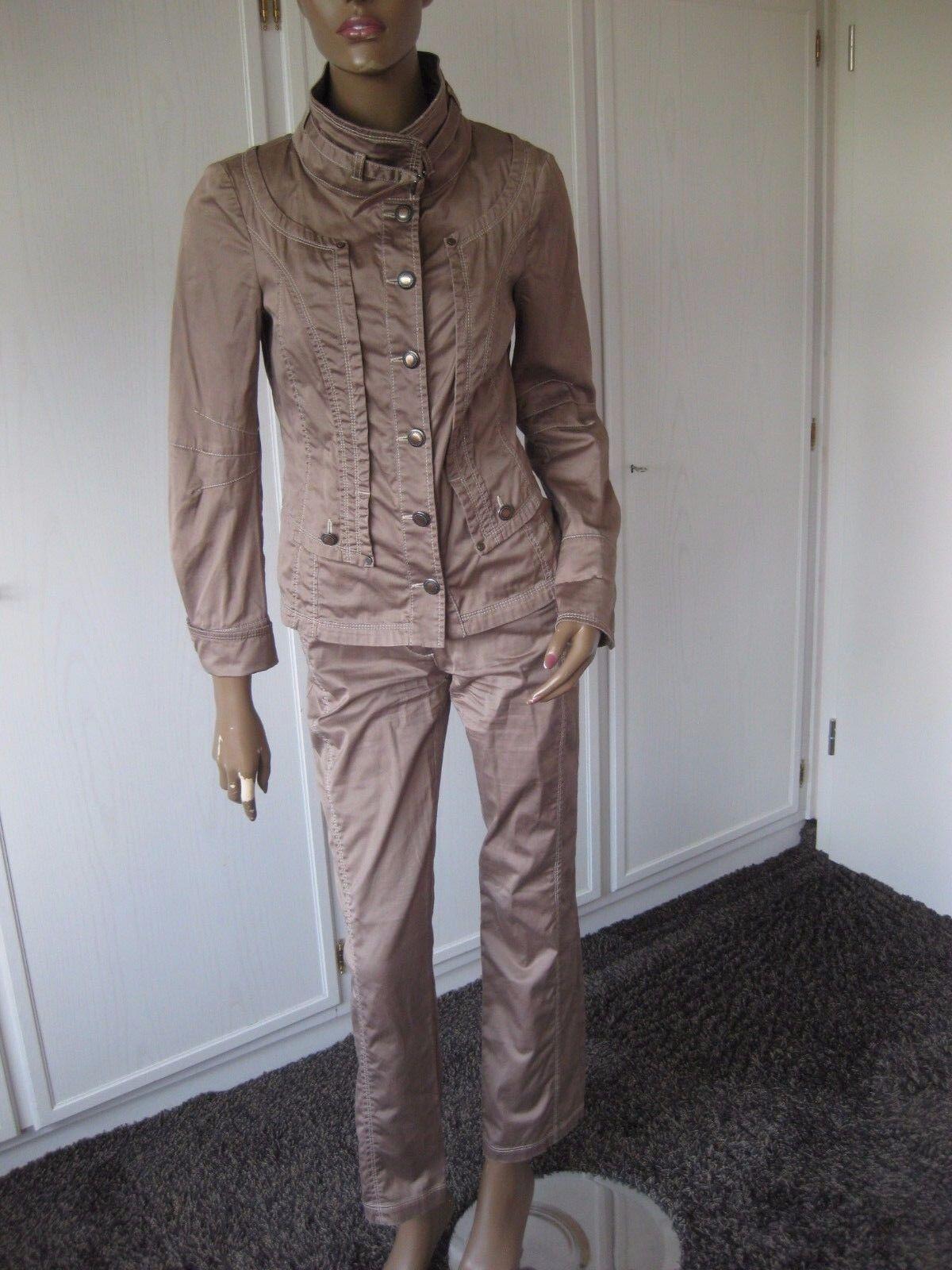 Biba exclusiver Pantaloni vestito combinazione 34 36 Tortora Giacca + + + Pantaloni c1cd3d