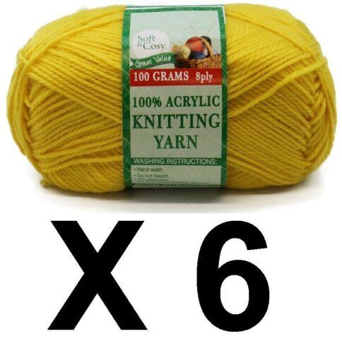 Knitting wool 6 x 100g acrylic yarn 8ply Canary Yellow 100/% Brand New