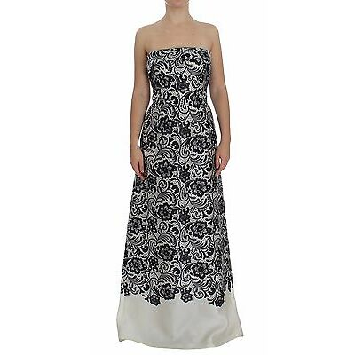 NWT $4000 DOLCE & GABBANA Dress White Floral Lace Silk Corset Maxi IT40 /US6 /S