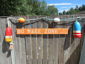 Inventive 48 Inch Wood Hand Painted No Wake Zone 5mph Sign Nautical Seafood Maritime #s836 Antiques